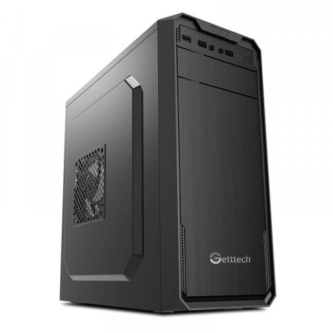 GETTTECH PC CASE MID-TOWER, ATX/MICRO ATX, 500W POWER SUPPLY INCLUDED, MATTE BLACK (GG-1803)