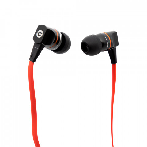 Earphones Getttech MI-2140R Smooth with microphone, black & red, 3.5 mm